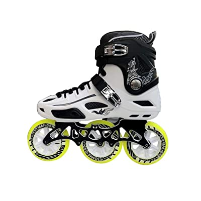 Sljj Inline Skates, 3 Wheel 110MM Wheels Adult Single Row Skates Full Flash Skates Black and White Yellow Wheel (Color : B, Size : EU 41/US 8/UK 7/JP 25.5cm): Home & Kitchen