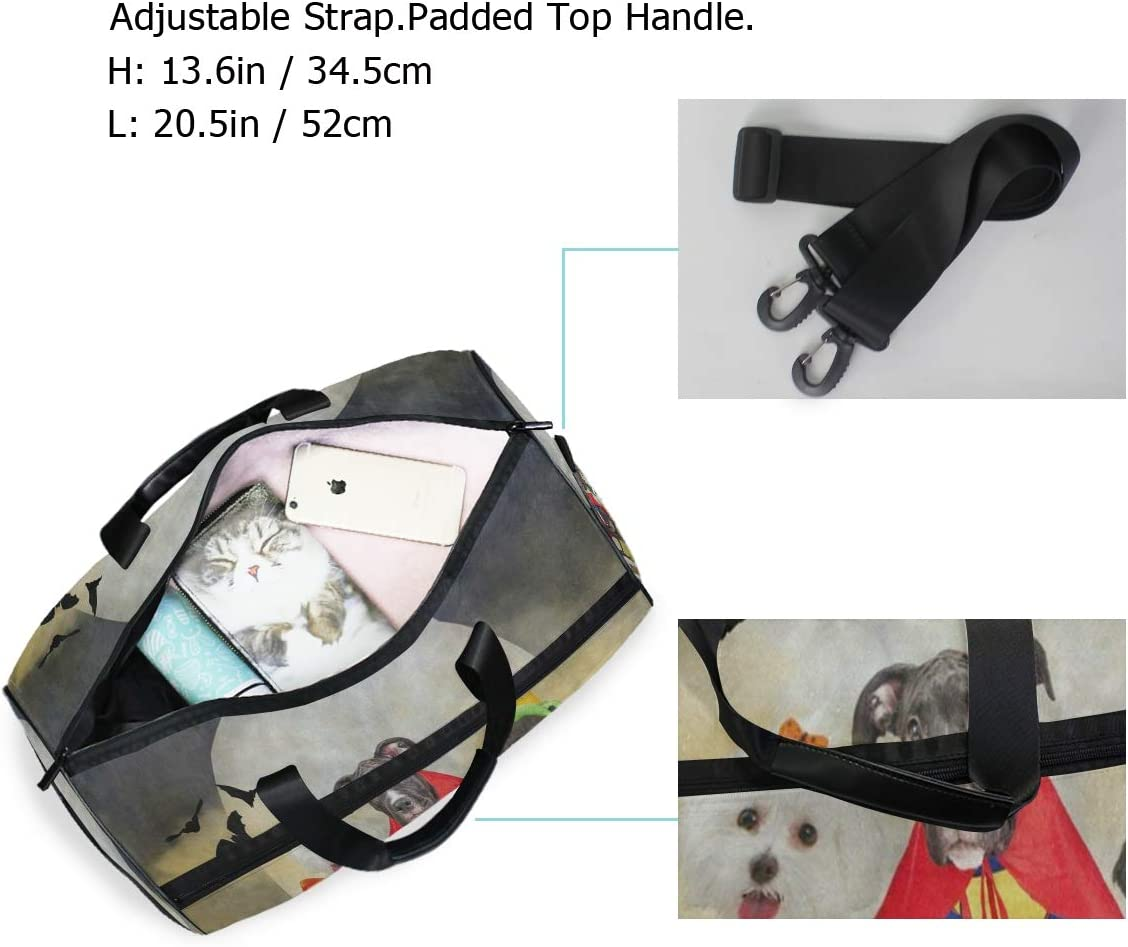 Gym Bag Hipster Puppy Dog Dressed In Halloween Costumes Sport Duffle Holdall Bag Training Handbag Yoga bag for Men Women