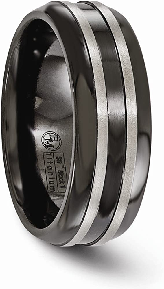 Titanium Brushed and Grooved Black Ti 8mm Wedding Ring Fine Jewelry Ideal Gifts For Women