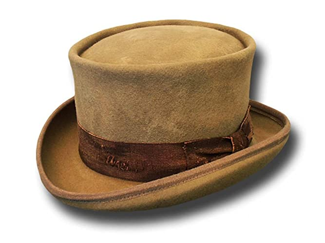 4d3abe685fda52 Amazon.com: Western Desert Rat Aged Top Hat Kaki: Handmade