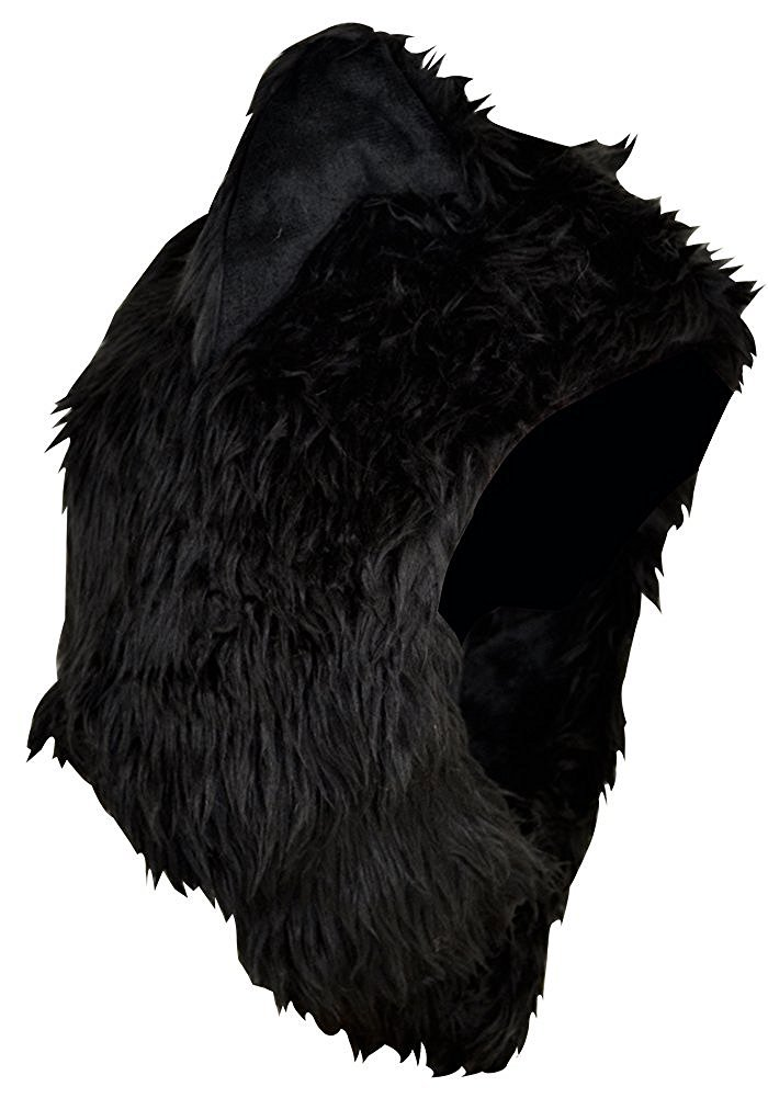 3c27f9ca14f Amazon.com  Faux FUR Animal Winter Snow Hat Hoods Black Wolf Ski Ears  Unisex  Sports   Outdoors