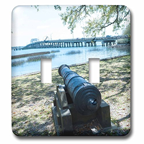Bridge South Park (3dRose Danita Delimont - Weapons - South Carolina, Beaufort, waterfront park and Woods Memorial Bridge - Light Switch Covers - double toggle switch (lsp_259983_2))