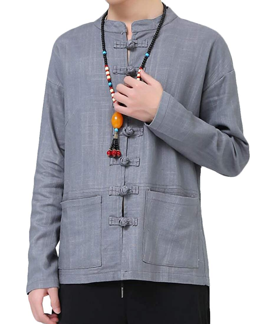 BYWX Men Long Sleeve Linen Casual Mandarin Collar Button Down Shirts