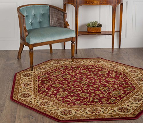Universal Rugs Ventura Transitional Oriental Red Octagon Area Rug, 6' Octagon