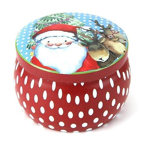 vanpower - Caja de Lata para Dulces con Forma de Tambor, diseño navideño, Caja