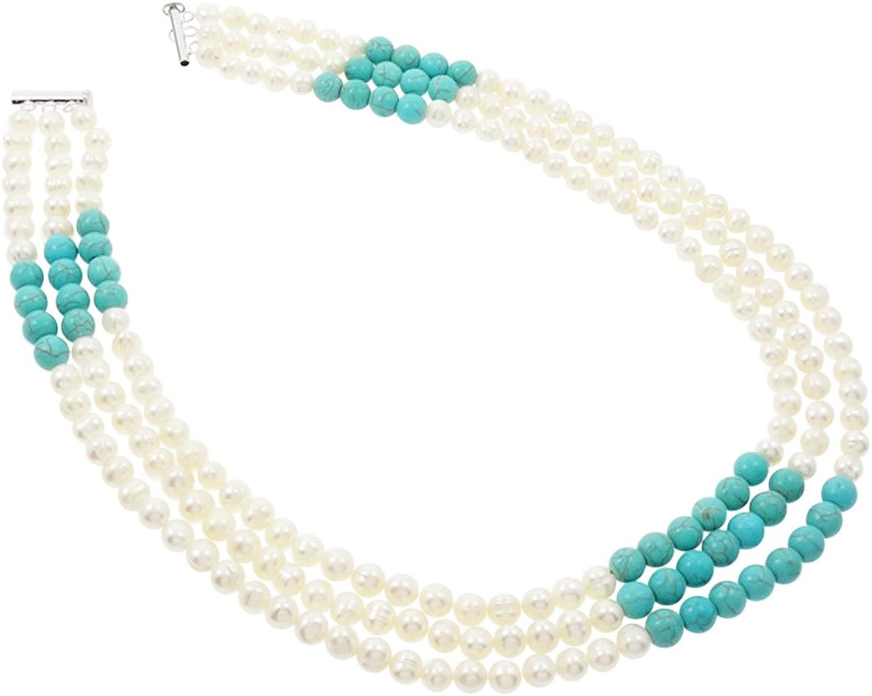 TreasureBay Collar de tres vueltas de perlas cultivadas Elena y turquesas naturales. Incluye caja para regalo