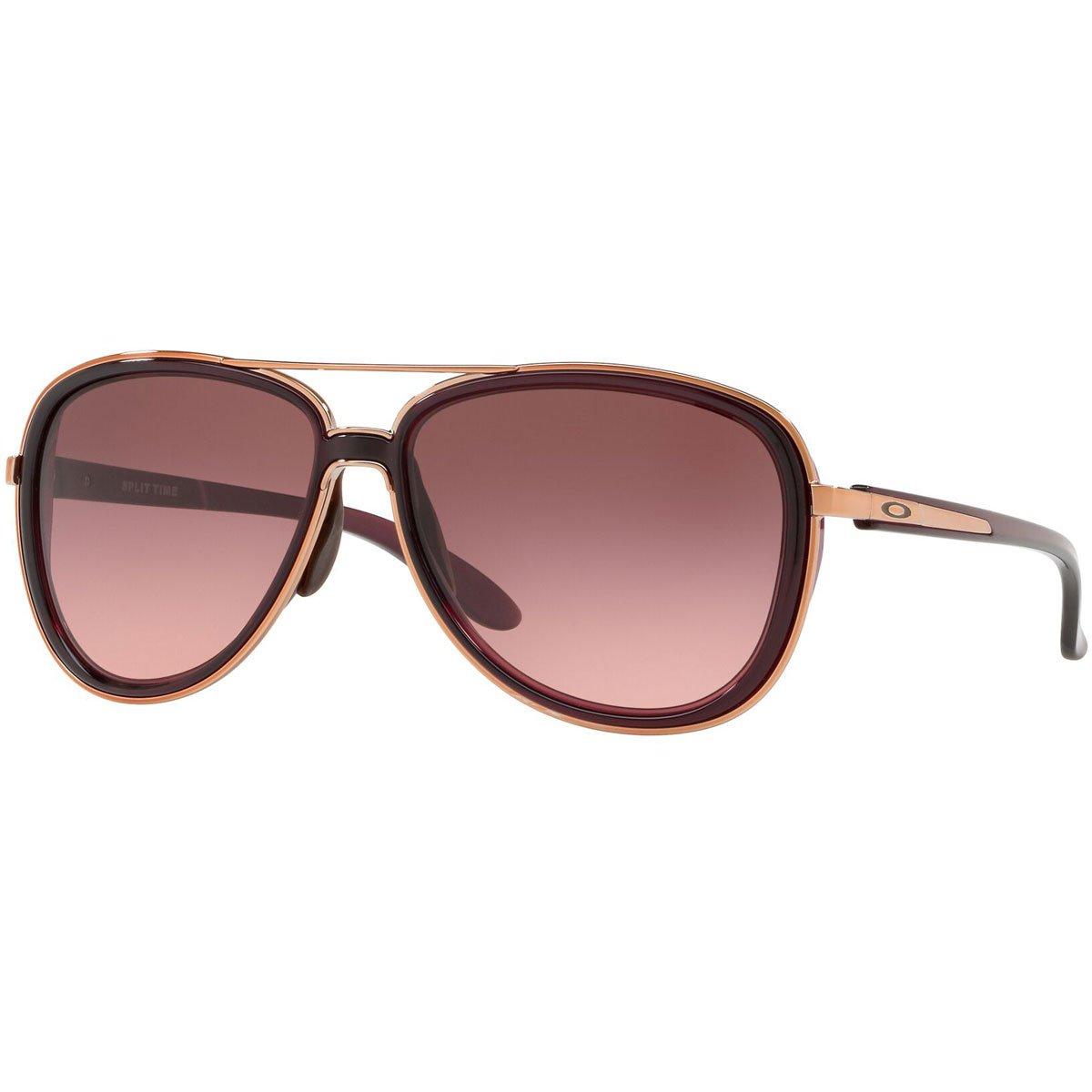 Oakley Women's OO4129 Split Time Aviator Metal Sunglasses, Crystal Raspberry/G40 Black Gradient, 58 mm by Oakley