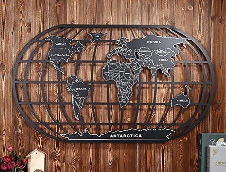 Turst Iron Wall Art Traditional Ocean Pattern Iron World Map Wall - Iron world map wall art