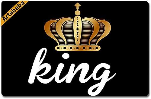 Artsbaba Custom Personalized Doormat King Crown Door Mat Monogram Non-Slip Rubber Doormat Non-Woven Fabric Floor Mat Indoor Entrance Rug Decor Mat 23.6 x 15.7 Inches
