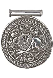Sterling Shield Pendant with Carved Lion - Sterling Silver