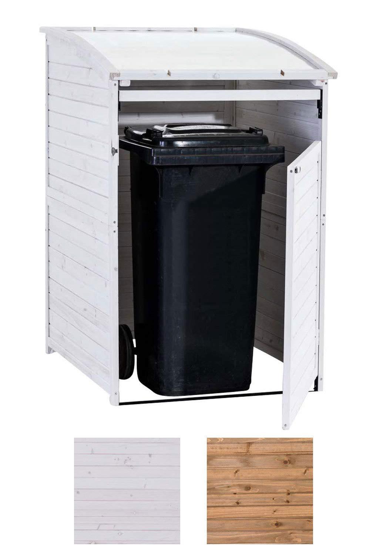CLP Cobertizo para Contenedor de Basura de Madera 240 litros I 1 Contenedor, Tapa Plegable I Puerta con Cierre Blanco: Amazon.es: Jardín