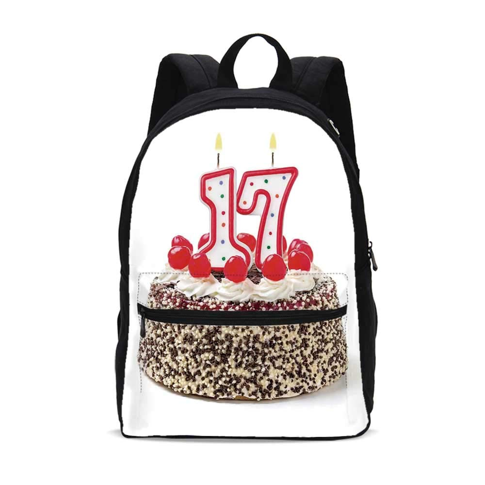 17th Birthday Decorations Durable Backpack,Birthday Cake with Cherries and Sprinkles and Candles Photo Art for School Travel,10.6''L x 6.2''W x 15.3''H
