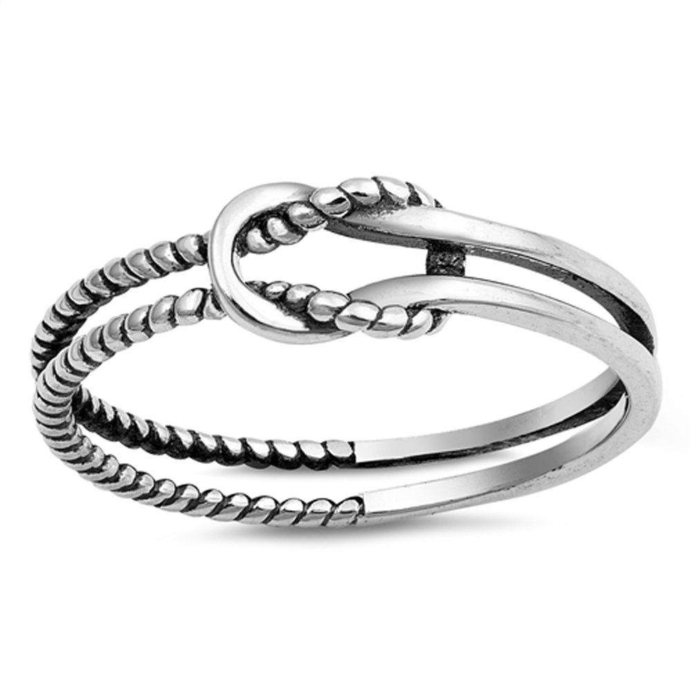 Oxidized Infinity Love Knot Rope Loop Ring .925 Sterling Silver Band Sizes 3-10 Sac Silver