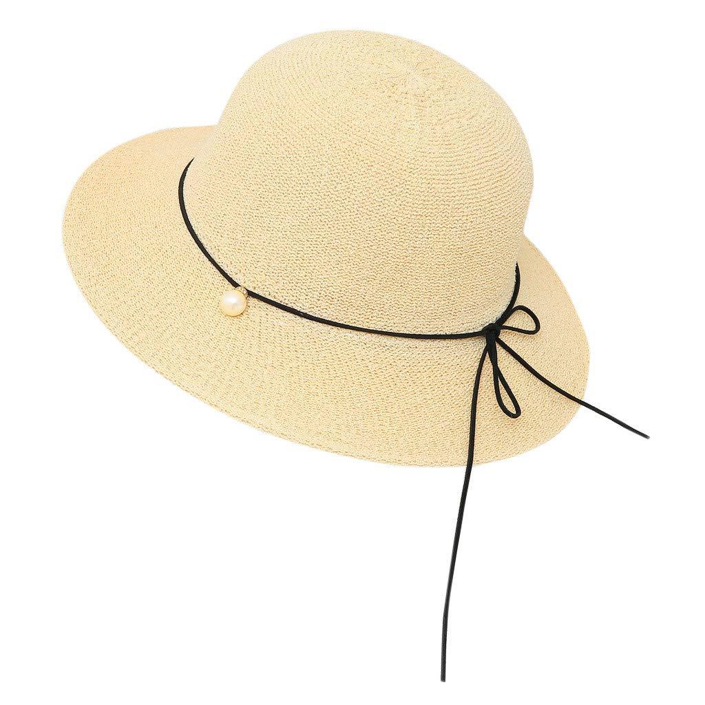 c374ccfd3 YEZIJIN Summer Floppy Foldable Ladies Women Bow Solid Beach Sun Hat ...