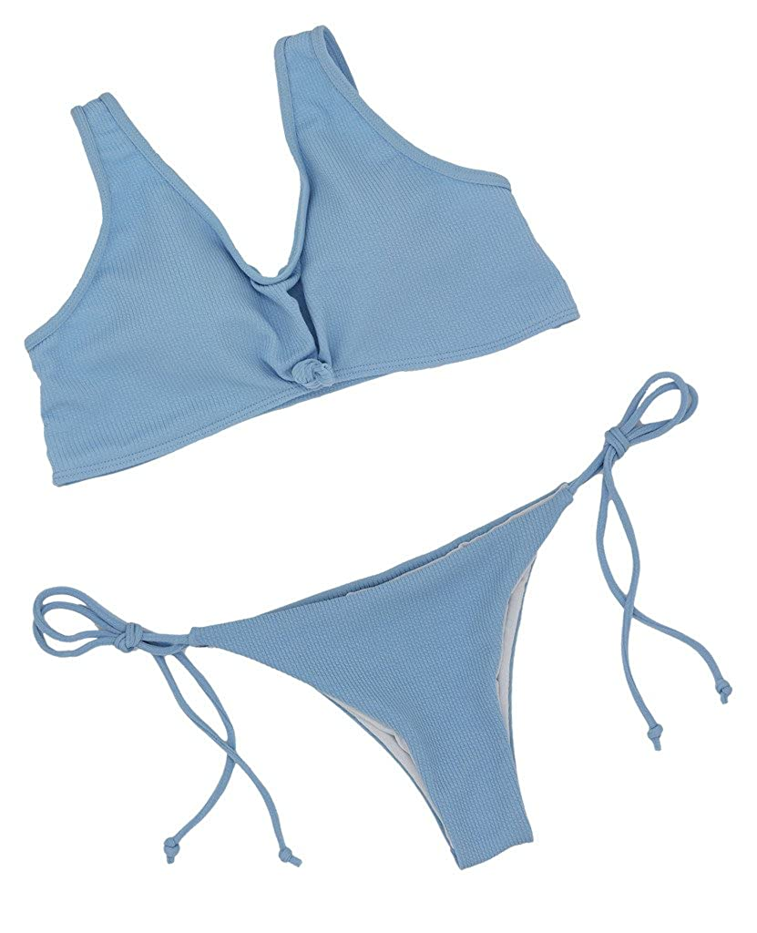 62a362b138 ... FLORAVOGUE Womens Knotted String Bikini Set Thong Two Pieces Swimwear  ...
