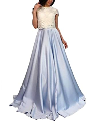 olise bridal Womens Sexy 2 Piece Cap Sleeves Prom Dresses Appliques Lace Long Formal Evening Dresses