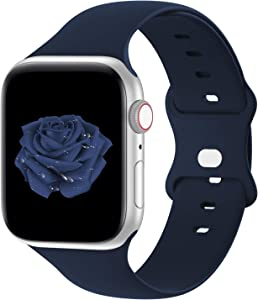 Bandiction Compatible with Apple Watch Series 3 38mm Series 5 40mm iWatch Bands 42mm 44mm, Soft Silicone Sport Replacement Strap Compatible for iWatch SE Series 6 5 4 3 2 1, Sport Edition, Navy Blue