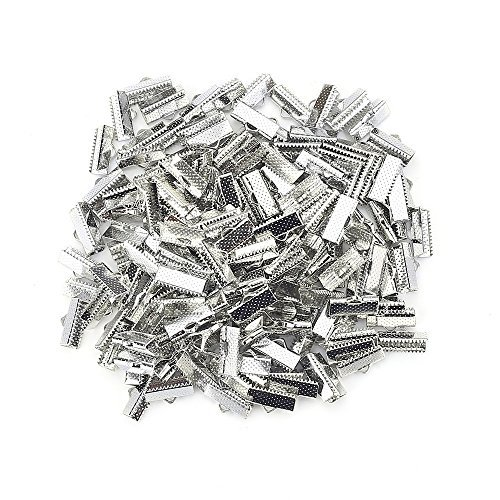 100PCS Silver Plated Ribbon Ends Fastener Clasps Textured Crimp End Clamps Cord Ends ()