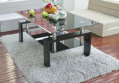 Merax Black Highlight Glass Top Cocktail Coffee Table with Wooden Legs (Black Glass Coffee)
