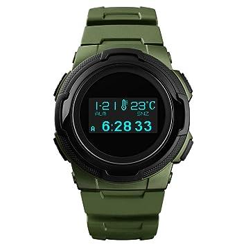 WSJ Reloj Deportivo, brújula, termómetro al Aire Libre, Contador de Pasos, Aventura de montaña Impermeable Reloj electrónico Luminoso, ...