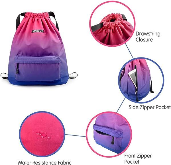 Drawstring Backpack String Bag Water Resistant Sports Gym Sackpack Lightweight Daypack for Men Women Dry Wet String Backpack Swim Beach Travel Bag