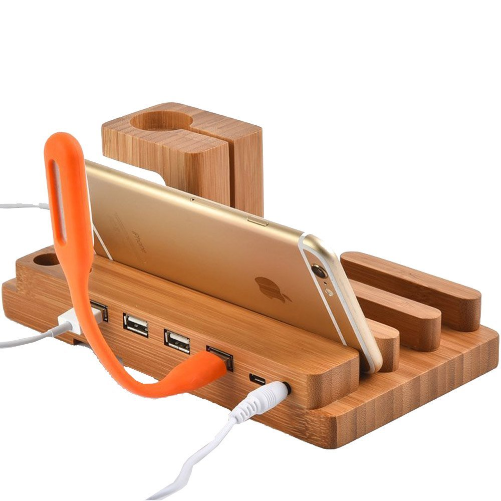Watch Stand,BAVIER Bamboo Wood 3-Port 3.0 Hub USB Charging Station, Phone Charger Dock and Charging Station for iPhone iPad and Smartphones and Tablets (Bamboo Wood A1)