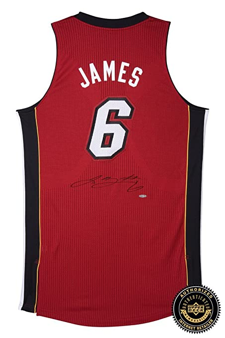 550cca95f LeBron James Autographed Signed Miami Heat Authentic ADIDAS Red Alternate  Jersey