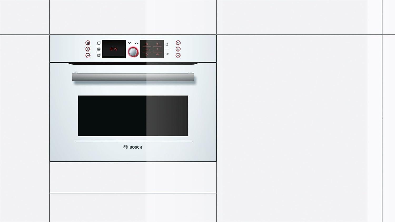 Bosch HBC86P723 - Horno+Microondas Partner Hbc86P723, Multifuncion, Blanco Cristal, Pirolitico, Reloj Programador Electronico, Alto 45Cm, Rail 1 Nivel: ...