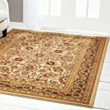 Home Dynamix Royalty Elati Area Rug | Traditional Living Room Rug | Classic Boarders and Medallion Prints | Persian-Inspired Design | Ivory, Tan, Beige 7'8″ x 10'4″