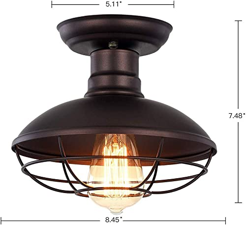 Vintage Industrial Mini Metal Cage Ceiling Light – MKLOT E26 Rustic Bronze Pendant Lighting Semi Flush Mounted 8.66 Wide Dome Shaped Lamp Fixture Farmhouse Style for Kitchen Garage Porch Entryway