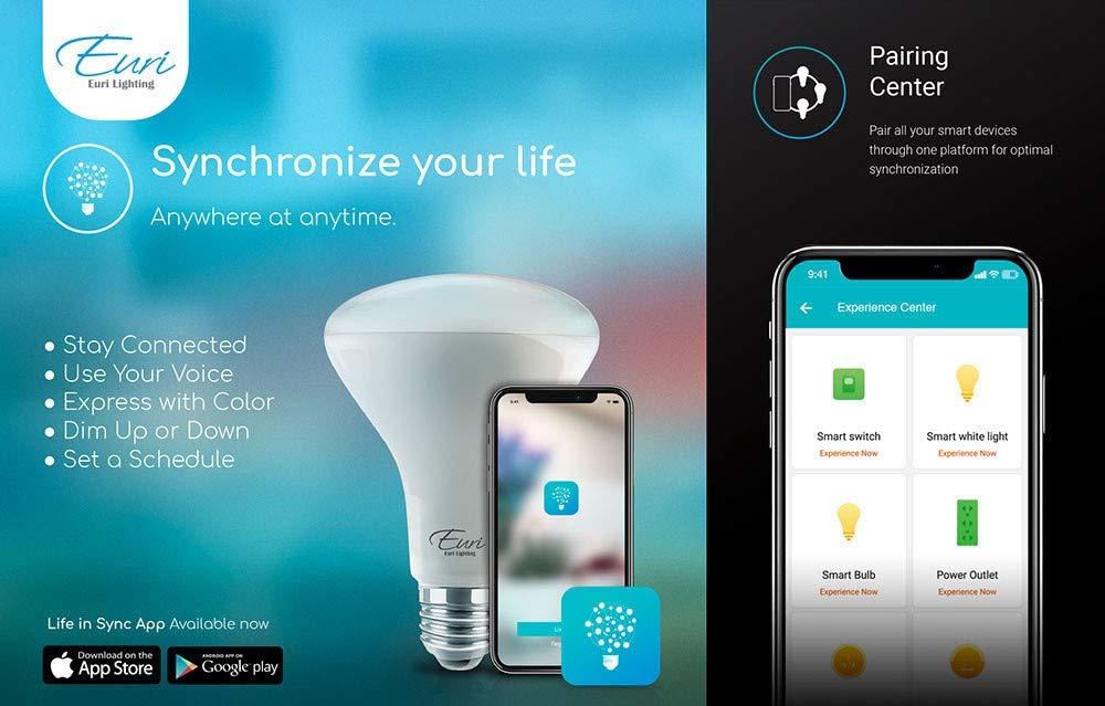 60W Equal Euri Lighting WiFi Smart Bulb BR30 No Hub Required Compatible with  Alexa /& Google Assistant RBG+CCT Tunable