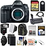 Canon EOS 5D Mark IV 4K Wi-Fi Digital SLR Camera Body with 128GB SD Card + Battery & Charger + Grip + Backpack + Flash + LED Light + Mic + Kit