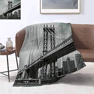 "smllmoonDecor New York Warm Microfiber All Season Blanket Bridge of NYC Vintage East Hudson River Image USA Travel Top Place City Photo Art Print Summer Quilt Comforter 80""x60"" Grey"