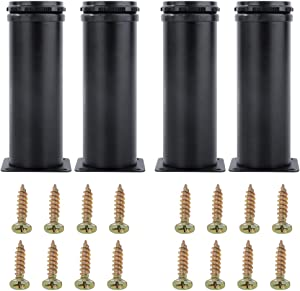 AOWESM Stainless Steel Furniture Legs Cabinet Metal Legs 2 Inch Diameter Adjustable Kitchen Feet Heavy Duty for Furniture, Cabinets, Shelves with 16 Screws (Set of 4) (6 inch/150mm Black)