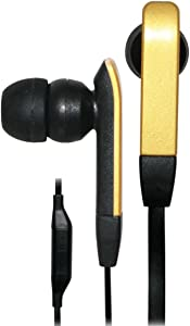 iHip IP-PRIME-G Flat Cord Earphones With In-Line Pause/Play Microphone for iPad and iPod touch and Most Smartphones, Gold