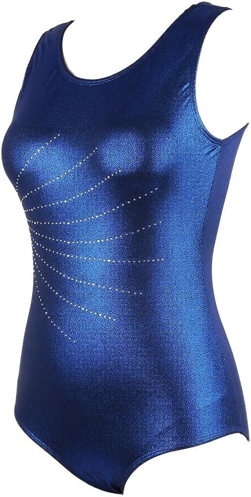 Wongfon Adulte Femmes Dancewear Vetements Bodysuit Ballet Justaucorps Radium sans Manches Brillant Corps en Forme de Losange Costumes de Ballet de Gymnastique Pratique V/êtements de Danse