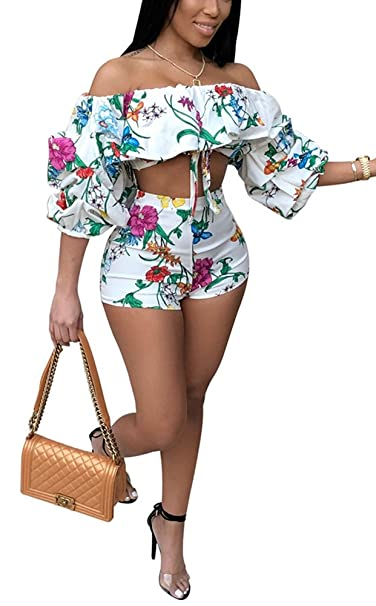 45aef477b92f Amazon.com: Darceeneth Women Sexy Two Piece Romper Outfits Pull Sleeve  Floral Off Shoulder Crop Top Short Pants Set White S: Clothing