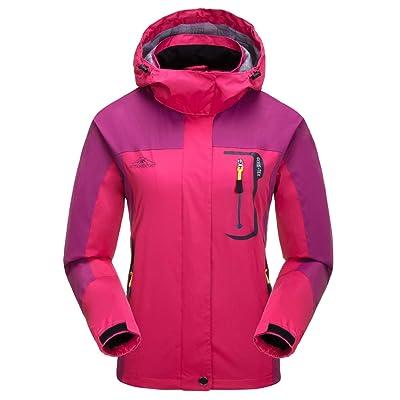 Aieoe - Chaqueta Deportivo para Mujer Impermeable para Invierno Otoño Abrigo para Deportes al Aire Libre Senderismo Caza - Rojo - Talla ES XS: Ropa y accesorios
