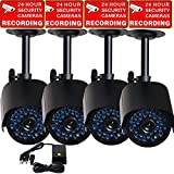 VideoSecu 4 Pack Outdoor IR Night Vision 520TVL Home CCTV Surveillance Security Cameras 36 Infrared LEDs Weatherproof Built-in Mechanical IR-Cut Filter Switch with 1 of 4 Channel Power Supply MHE
