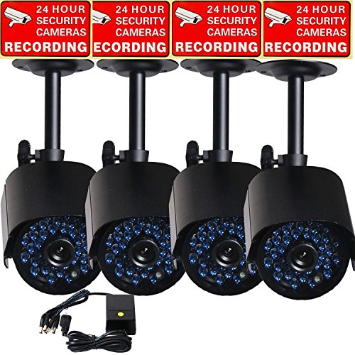 VideoSecu 4 x Outdoor IR Night Vision 520TVL Home CCTV Surveillance Security Cameras 36 Infrared LEDs Weatherproof Built-in Mechanical IR-Cut Filter Switch with 1 of 4 Channel Power Supply B1Q