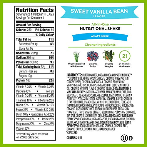 Orgain Organic Nutritional Shake, Vanilla Bean – Meal Replacement, 16g Protein, 21 Vitamins Minerals, Gluten Free, Soy Free, Kosher, Non-GMO, 11 Ounce, 12 Count Packaging May Vary