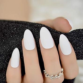Amazon.com  Matte Solid Pure White Stiletto Fake Nails