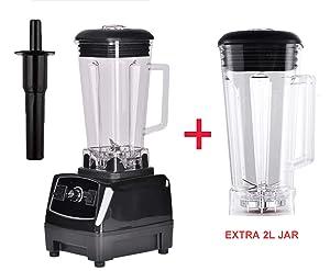 2200W Heavy Duty Professional Blender Mixer Juicer High Power Fruit Food Processor Ice Smoothie,Black extra 2L jar,AU Plug
