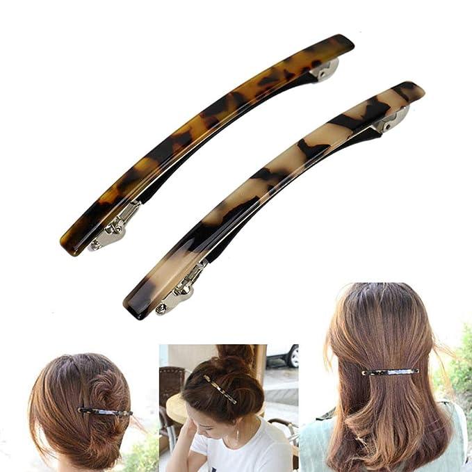 New French Sleek Black Hair Barrettes Tortoise Shell 4 1//2 Inches Hair Clip T73