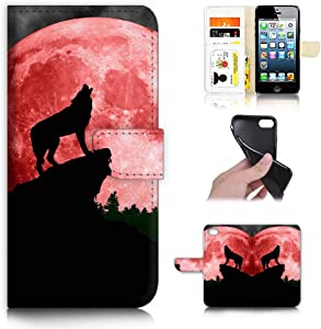 Ajour Pty Ltd for iPhone 8, iPhone 7, iPhone SE 2 (2020), Designed Flip Wallet Phone Case Cover, A21799 Red Moon Night Wolf 21799