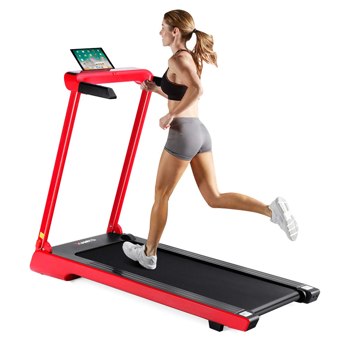 Goplus 2.25 HP Folding Treadmill Electric Cardio Fitness Jogging Running Machine Portable Motorized Power Slim Treadmill with Sports App and LED Display (Red) by Goplus (Image #2)