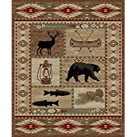 River Camp American Destination Rug - 53 by 73- Moose Bear Canoe Western Fishing Southwest Camping Stain Resistant