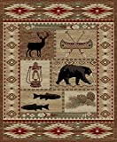 "Cheap River Camp American Destination Rug – 5'3″ by 7'3""- Moose Bear Canoe Western Fishing Southwest Camping Stain Resistant"
