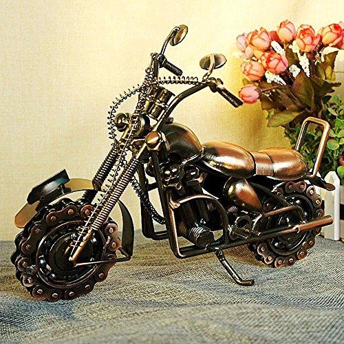 メタルモデルバイク オートバイモデル ブリキ ミニチュア レトロ ミニカー (ブロンズ  27x8x20cm)の商品画像