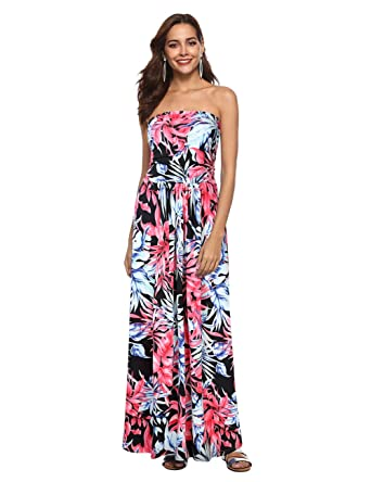 a35464e1a5 Liebeye Women Floral Sleeveless Empire Waist Strapless Beach Maxi Dress  Black-Red S